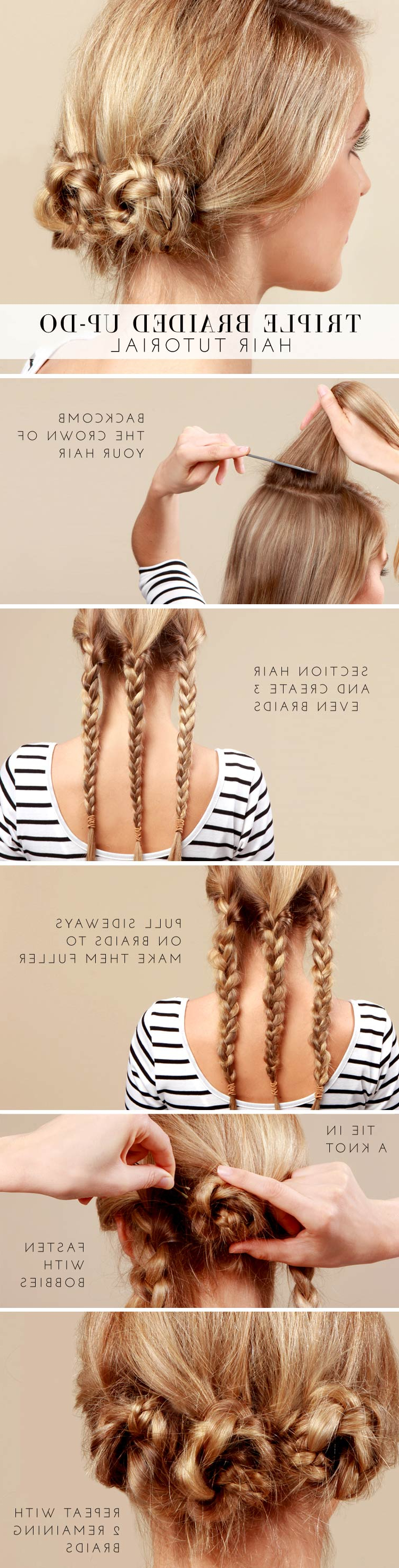 Newest Triple Under Braid Hairstyles With A Bun Pertaining To 30+ Cute And Easy Braid Tutorials That Are Perfect For Any (View 11 of 20)