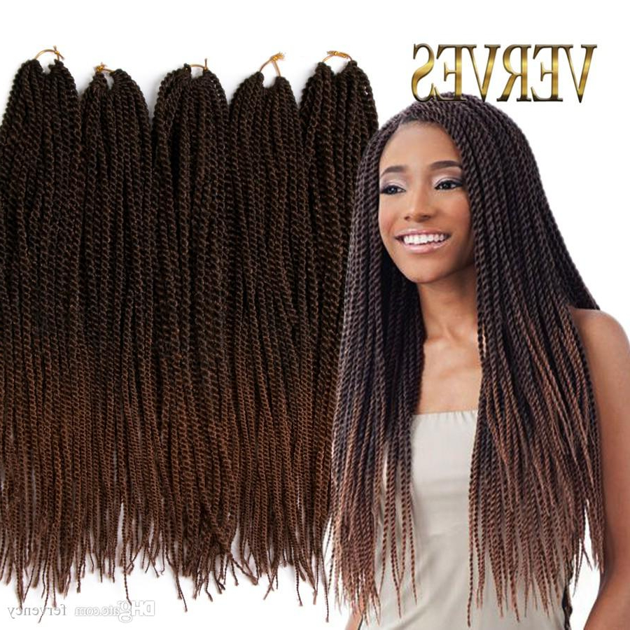 Ombre Crochet Braid Hair 18Inch 70Grams/pcs,small Senegalese Twist Hair 30  Roots Synthetic Braiding Hair Extension With Regard To Current Black And Brown Senegalese Twist Hairstyles (Gallery 8 of 20)