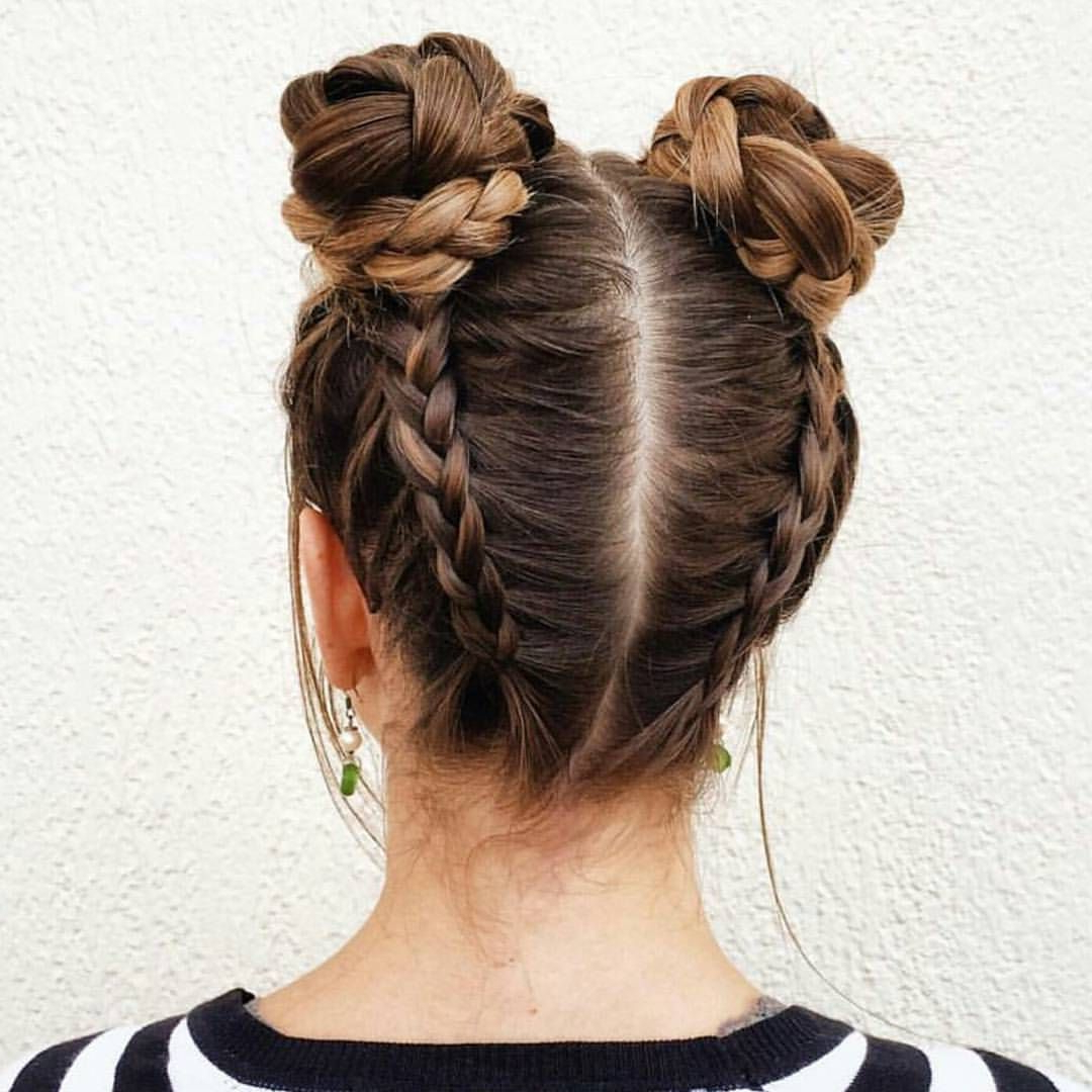 Pin On Hairs Throughout Popular Braided Space Buns Updo Hairstyles (View 12 of 20)
