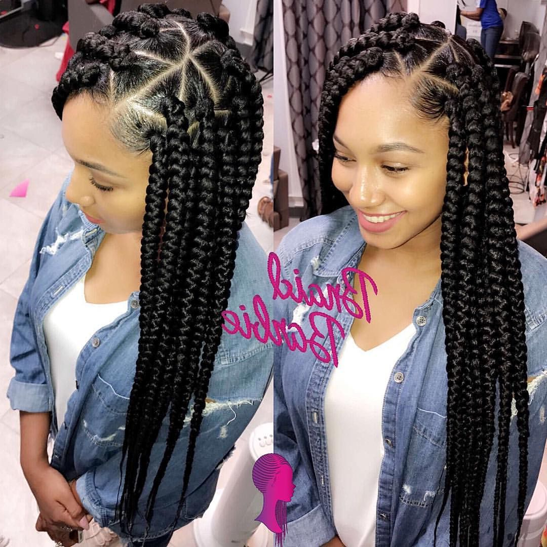 Pineuphoric Hair On Classic Box Braid Hairstyles In 2019 In Famous Long And Big Cornrows Under Braid Hairstyles (View 3 of 20)