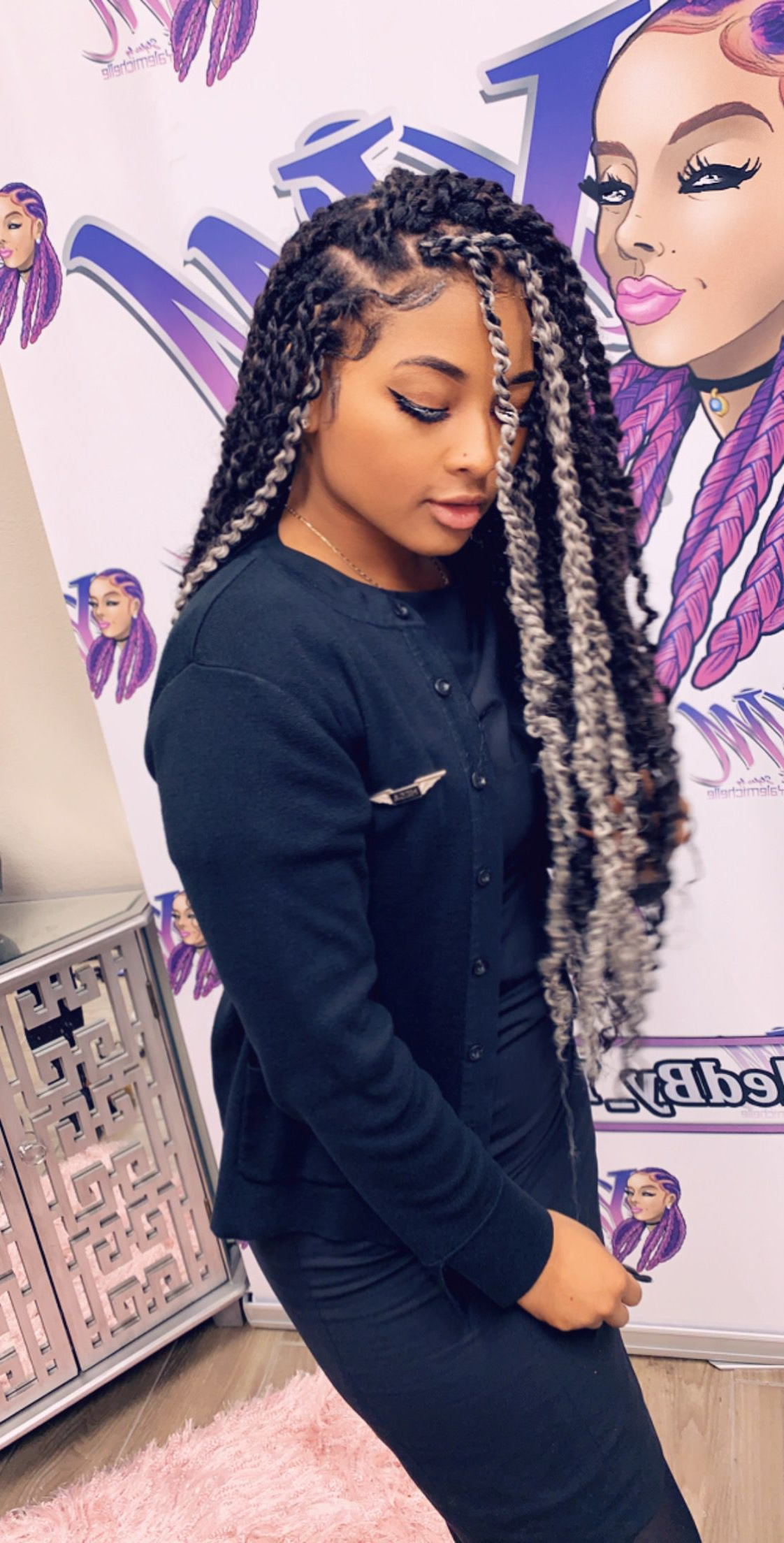 Pinstyledby_Yalemichelle On @styledby_Yalemichelle In For Most Current Purple Passion Chunky Braided Hairstyles (Gallery 6 of 20)