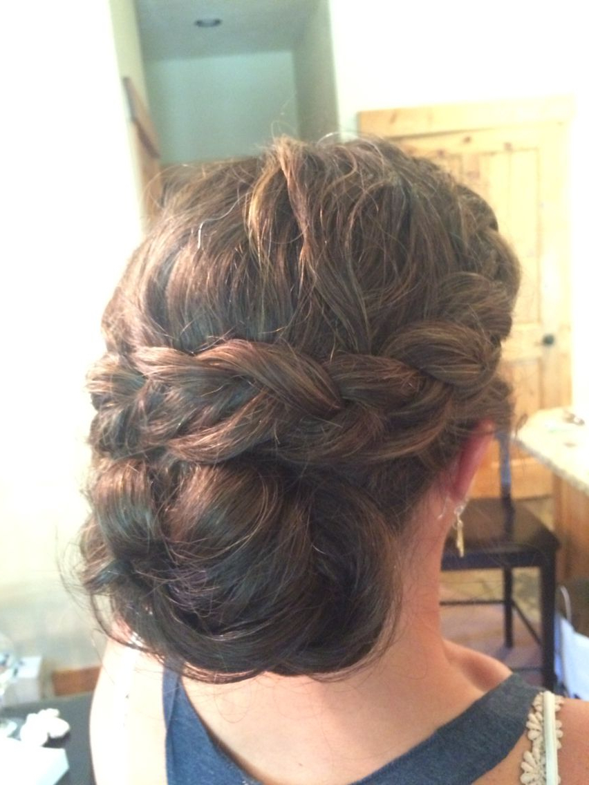 Popular Braided Chignon Hairstyles Pertaining To Thick Hair Side Braid Into Low Bun Chignon Wedding Hairstyle (Gallery 15 of 20)