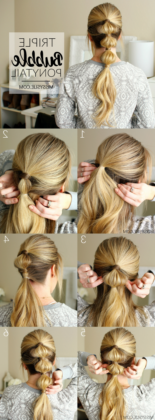 Popular Bubble Pony Updo Hairstyles Throughout Triple Bubble Ponytail (Gallery 15 of 20)