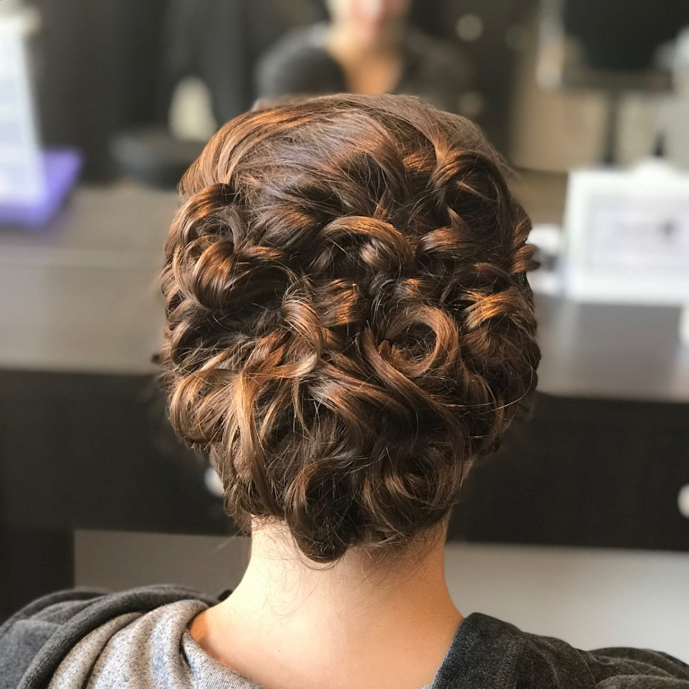 Popular Curled Updo Hairstyles Pertaining To 29 Curly Updos For Curly Hair (see These Cute Ideas For 2019) (View 15 of 20)