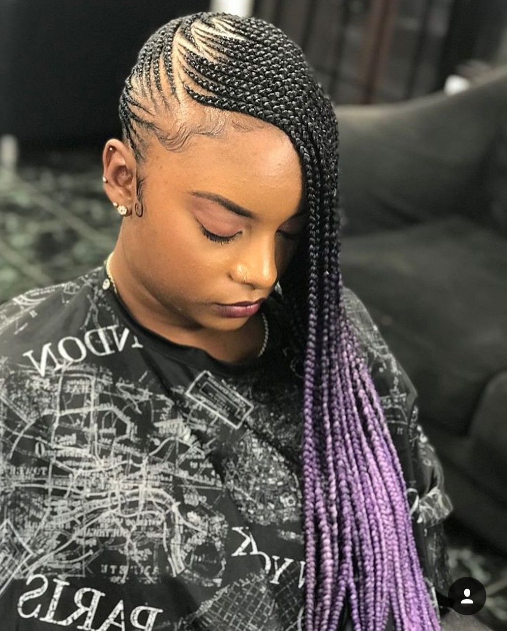 Popular Skinny Braid Hairstyles With Purple Ends Inside 35 Lemonade Braids Styles For Elegant Protective Styling (View 3 of 20)