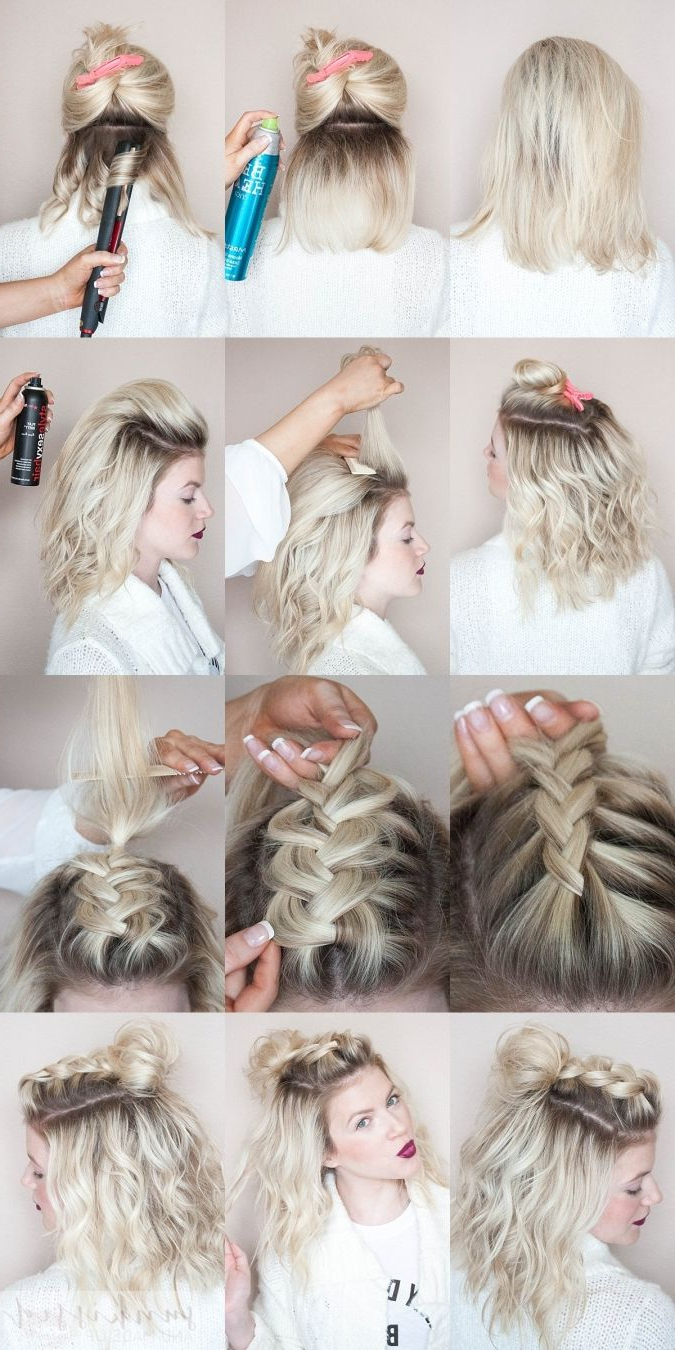 Popular Topknot Hairstyles With Mini Braid Throughout Braided Half Knot // Half Top Knot // Braid Tutorial (View 2 of 20)
