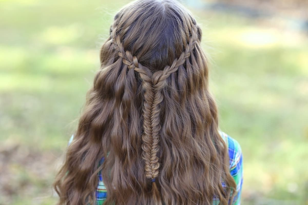 Popular Waterfall Braids Hairstyles Intended For 20 Waterfall Braid With Curls For Special Occasions (View 14 of 20)