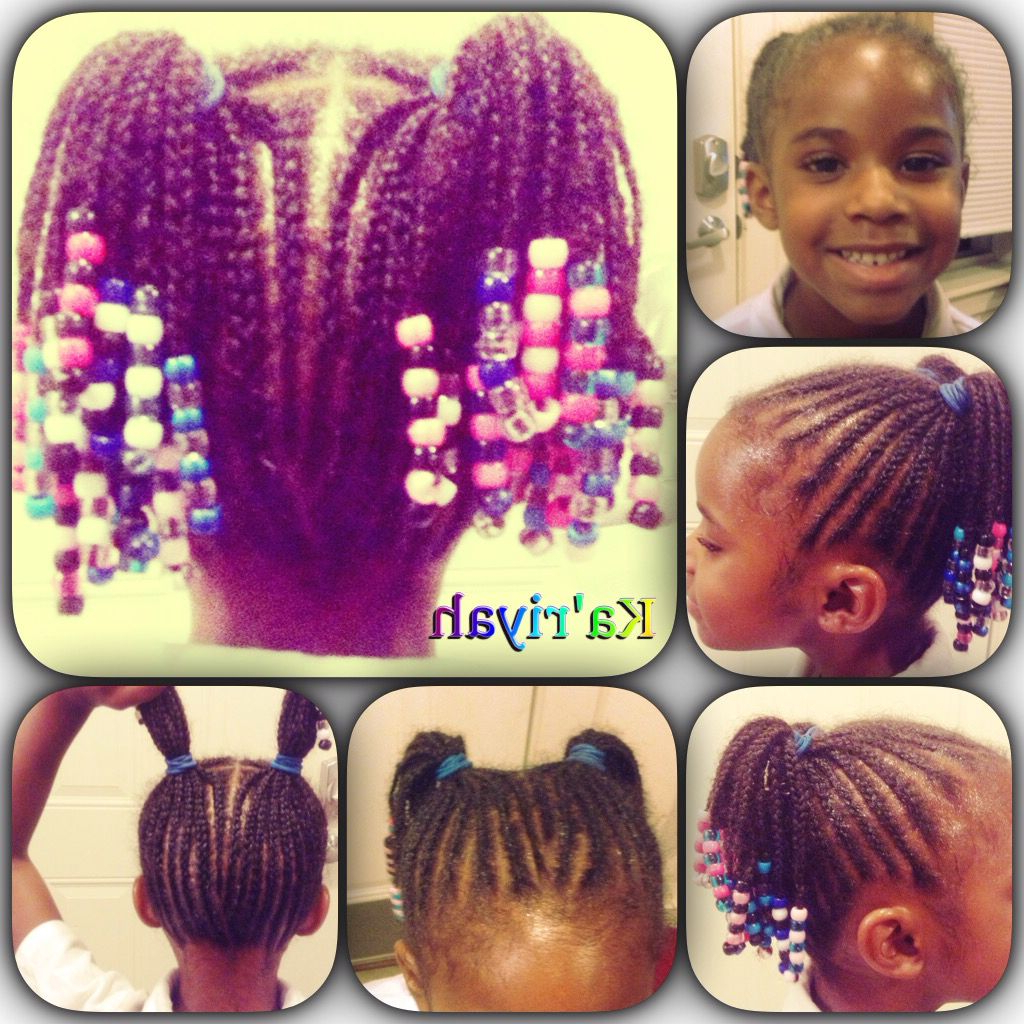 Preferred Beaded Pigtails Braided Hairstyles Pertaining To Cornrows, Braided Pigtails W/beads (Gallery 8 of 20)