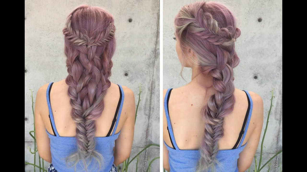 Preferred Mermaid Braid Hairstyles With A Fishtail With Regard To Fishtail Into Dutch Mermaid Braid (View 9 of 20)
