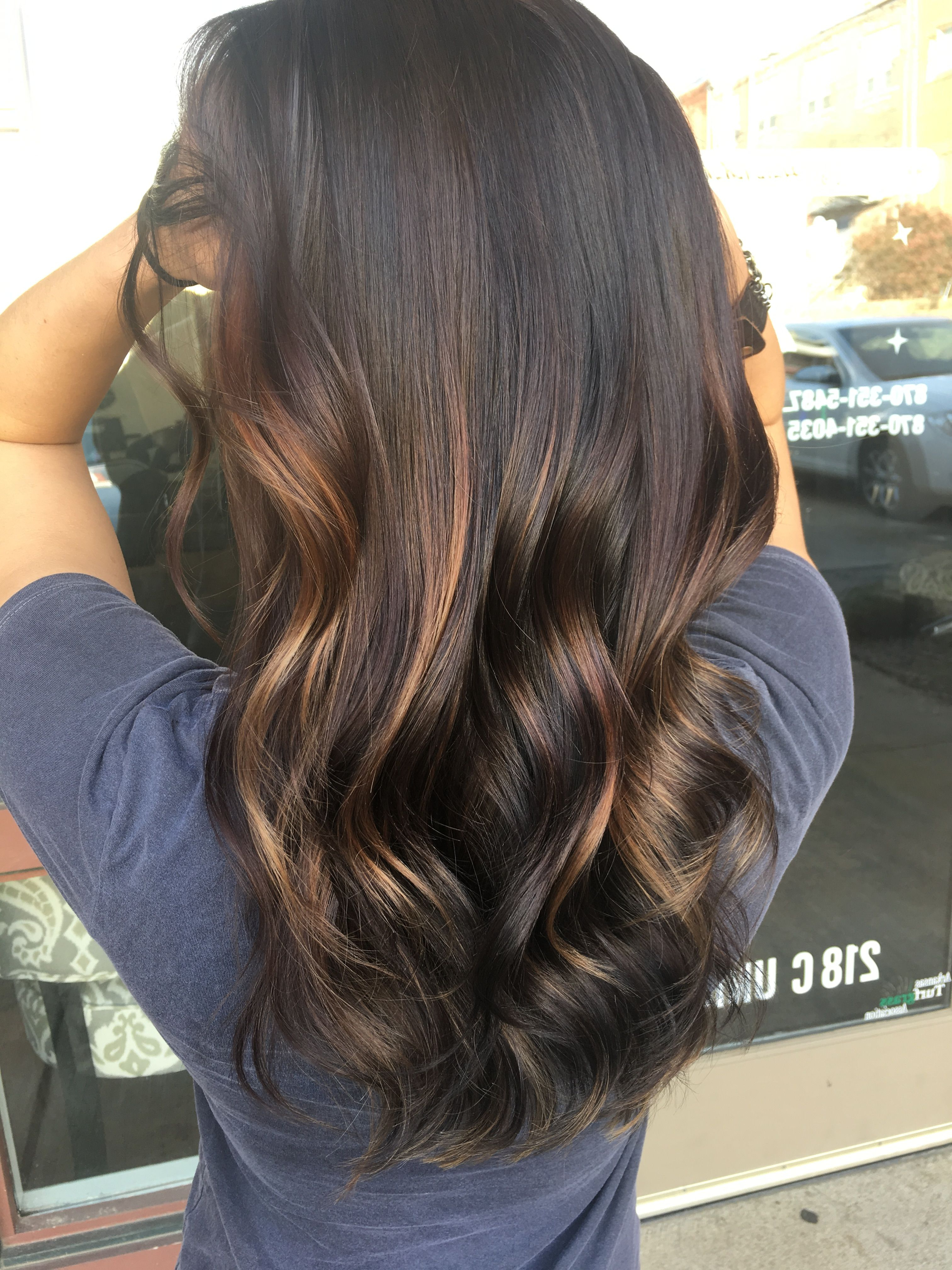 Preferred Tiny Twist Hairstyles With Caramel Highlights Regarding Dark Brunette Balayage Caramel Lowlights (View 18 of 20)