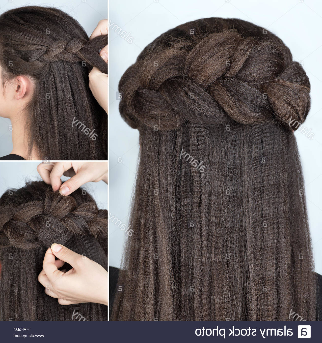 Process Of Weaving Braid. Hairstyle For Long Hair (View 18 of 20)