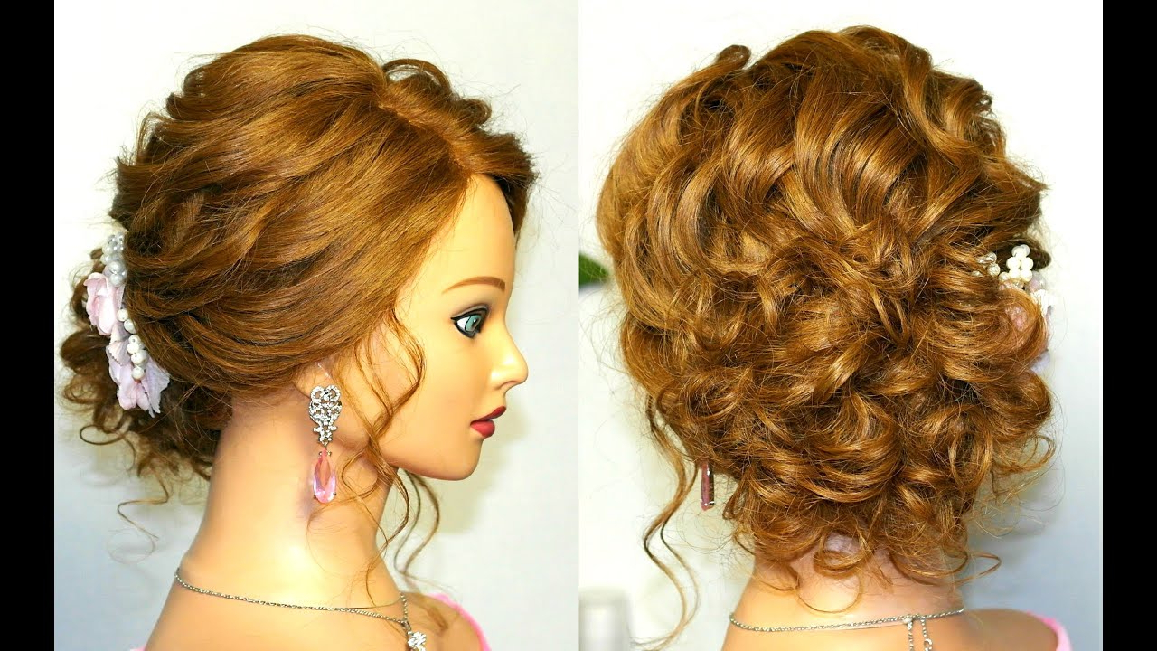 Prom Wedding Hairstyle, Curly Updo For Long Medium Hair Tutorial In Widely Used Curled Updo Hairstyles (View 6 of 20)
