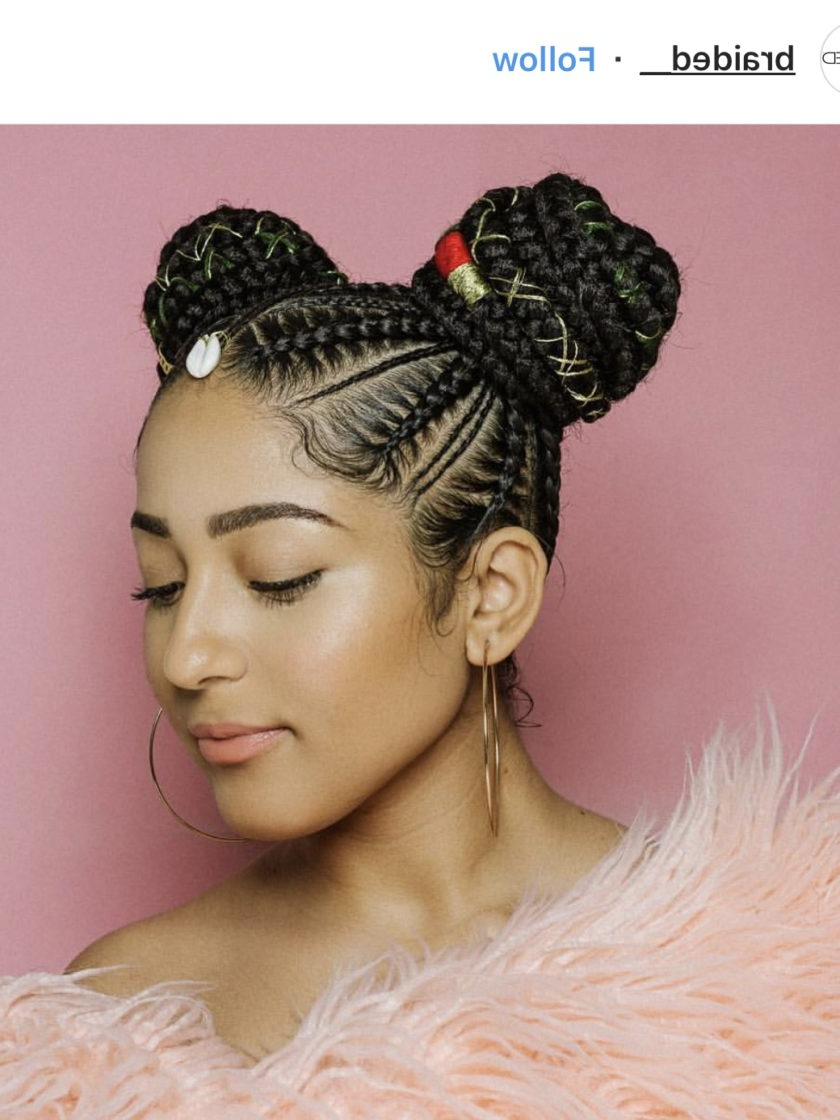 Protective Styles 101: Must See Feed In Braids – Essence Intended For 2020 Thick Cornrows Bun Hairstyles (View 12 of 20)