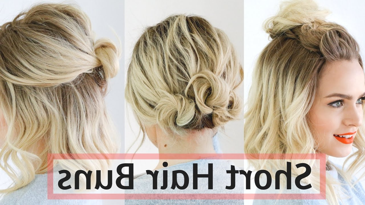 Quick Bun Hairstyles For Short / Medium Hair – Hair Tutorial! Pertaining To Latest High Volume Donut Bun Updo Hairstyles (Gallery 12 of 20)