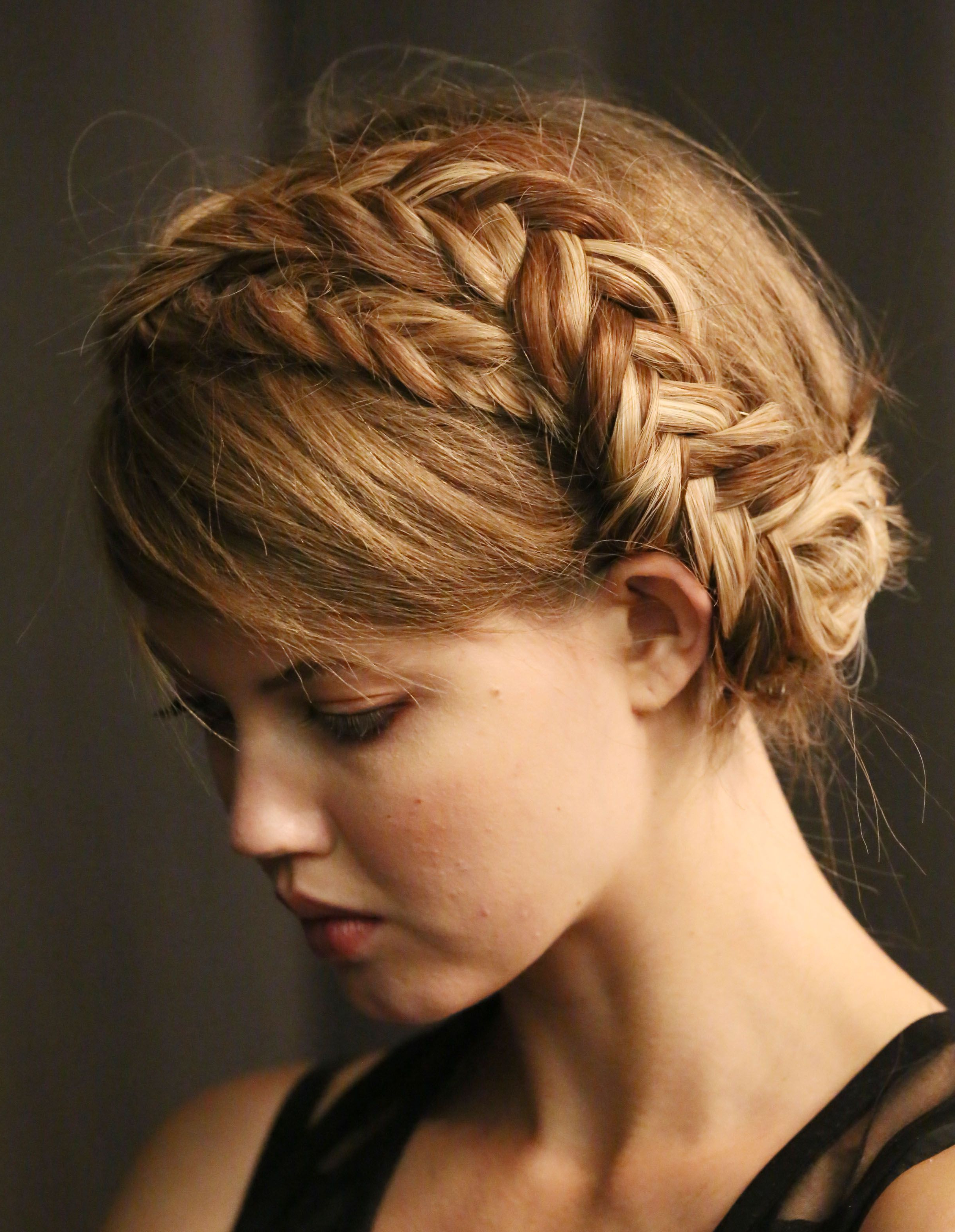 Recent Braid Hairstyles With Braiding Bangs Regarding Crown Braid With Bangs (View 18 of 20)