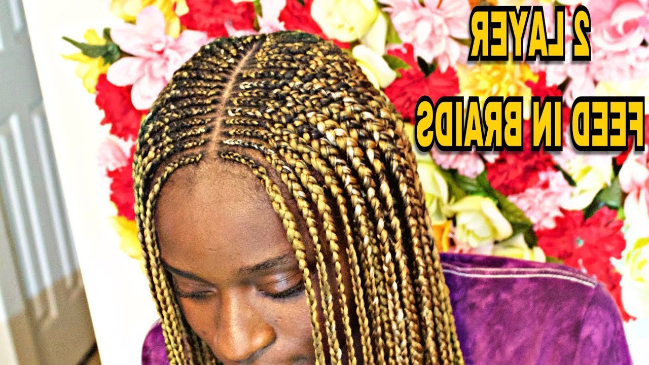 Recent Centre Parted Long Plaits Braid Hairstyles Inside Protective Styles: 2 Layer Feed In Braids (View 14 of 20)