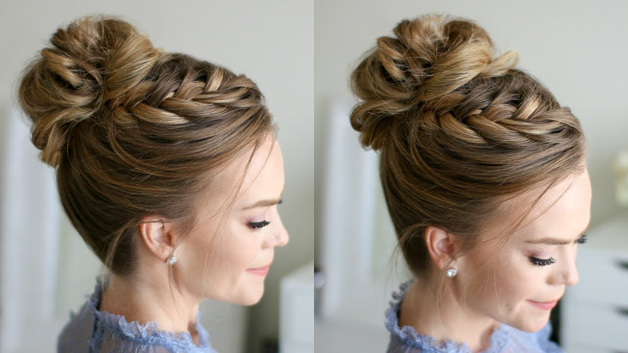 Recent French Braid Buns Updo Hairstyles With Fishtail French Braid High Bun (View 18 of 20)