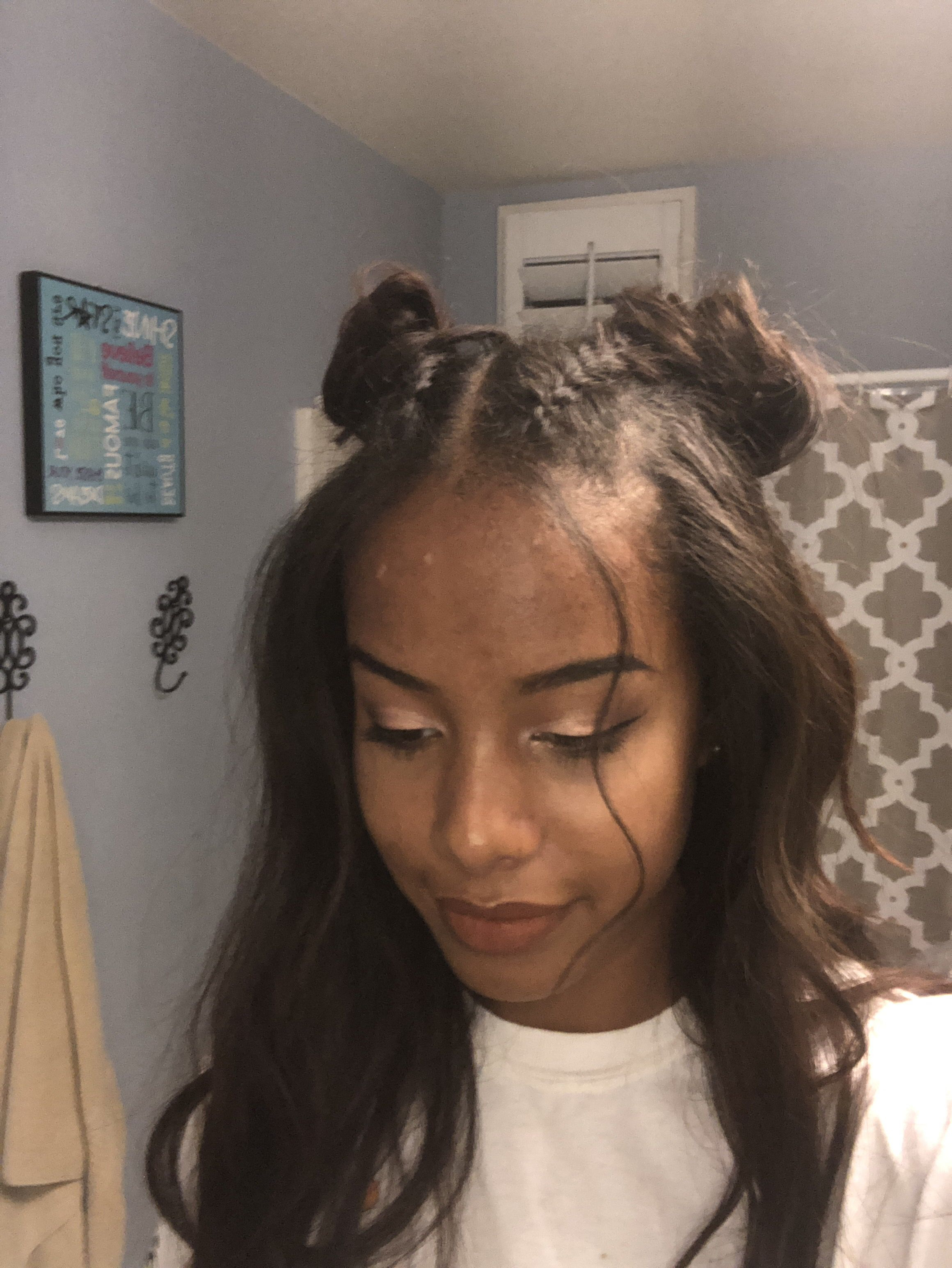 Recent Half Up Buns Yarn Braid Hairstyles Intended For Double Bun Dutch Braid With Curled Hair Half Up Half Down (View 3 of 20)