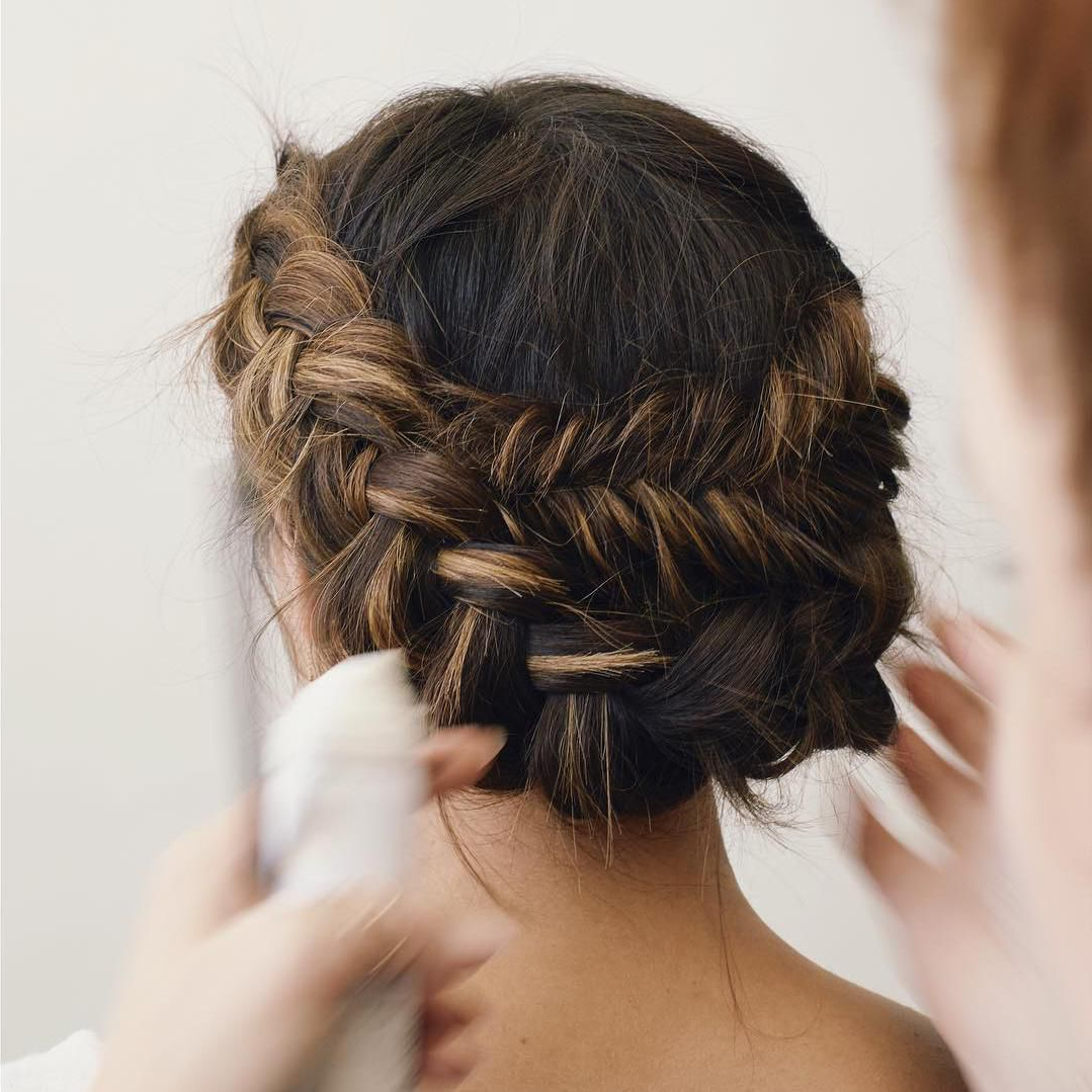 Recent Messy Crown Braid Updo Hairstyles Inside 50 Braided Wedding Hairstyles We Love (View 9 of 20)