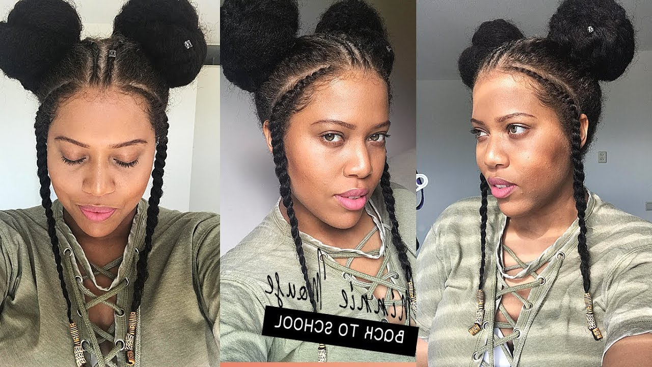 Recent Minnie Mouse Buns Braid Hairstyles Pertaining To African Fulani/minnie Mouse Inspired Back To School Hairstyle // Samantha Pollack (View 8 of 20)