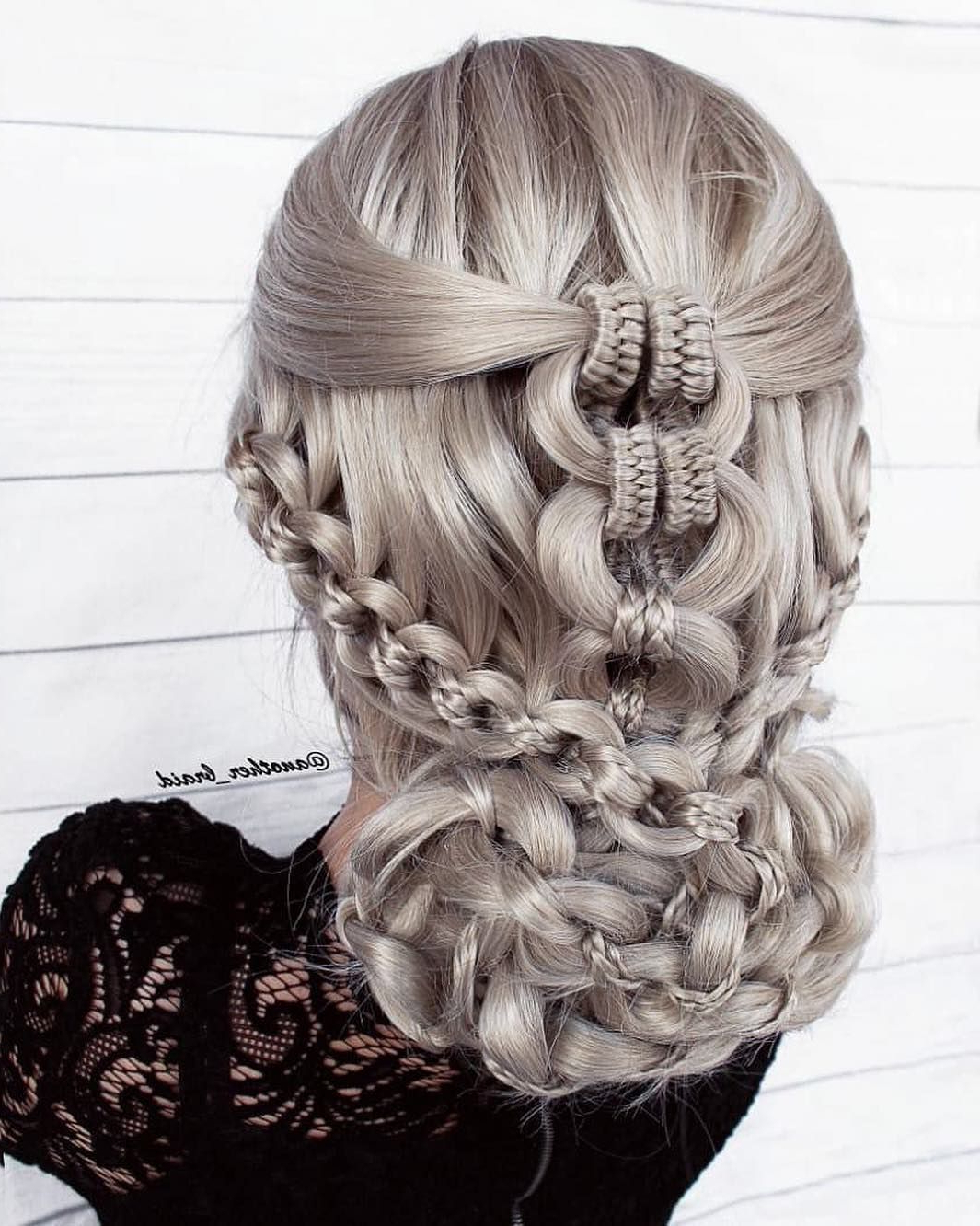 Recent Nostalgic Knotted Mermaid Braid Hairstyles With Regard To Chain Braid Updo Combined With Infinity Braids (View 3 of 20)