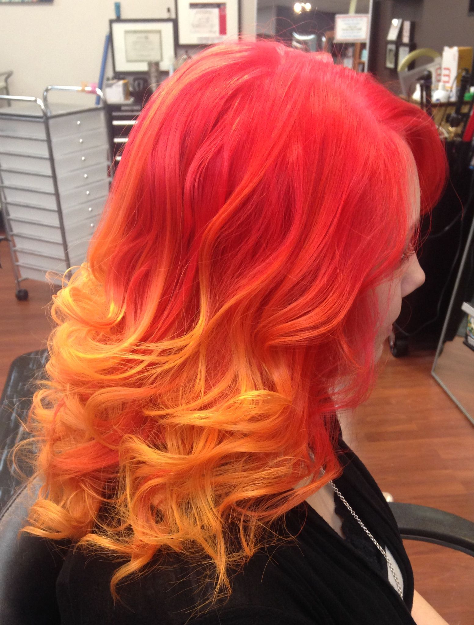 Red, Orange, And Yellow Fire Ombrécassie Ways At Alter Intended For Recent Red, Orange And Yellow Half Updo Hairstyles (View 6 of 20)
