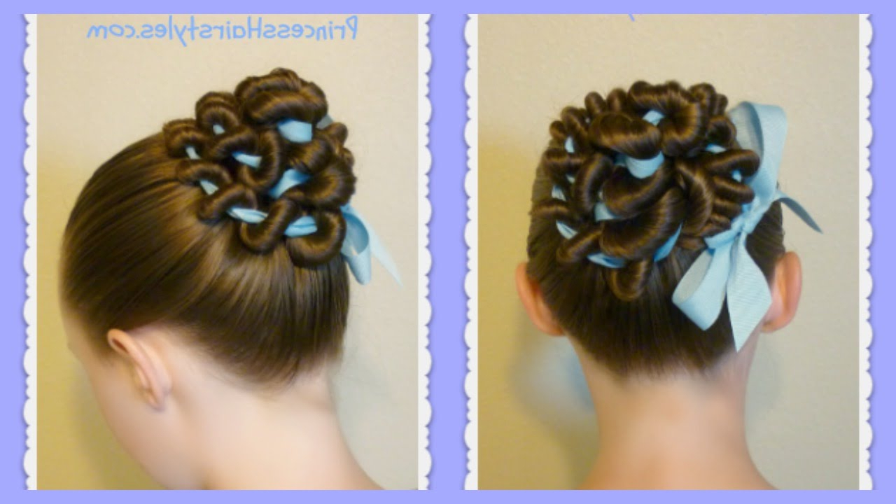 Ribbon Coiled Bun Hairstyle Tutorial Intended For Recent Swirl Bun Updo Hairstyles (View 8 of 20)