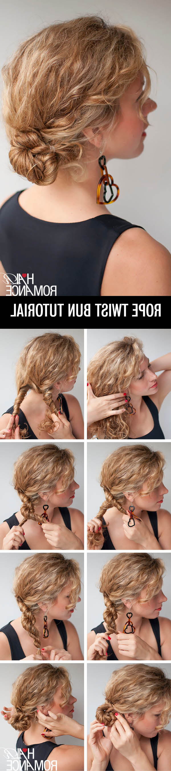 Rope Twist Bun Hairstyle Tutorial In Curly Hair – Hair Romance Within Preferred Rope Twist Updo Hairstyles With Accessories (View 14 of 20)