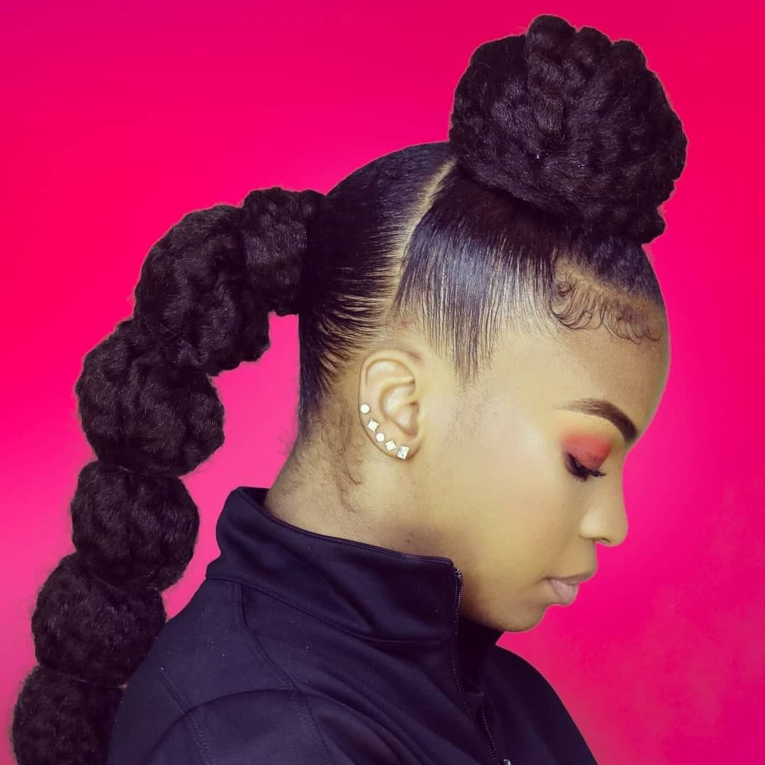 Rubberband Bubble Ponytail Style Using Marley Braiding Hair Throughout Most Current Natural Bubble Ponytail Updo Hairstyles (View 17 of 20)