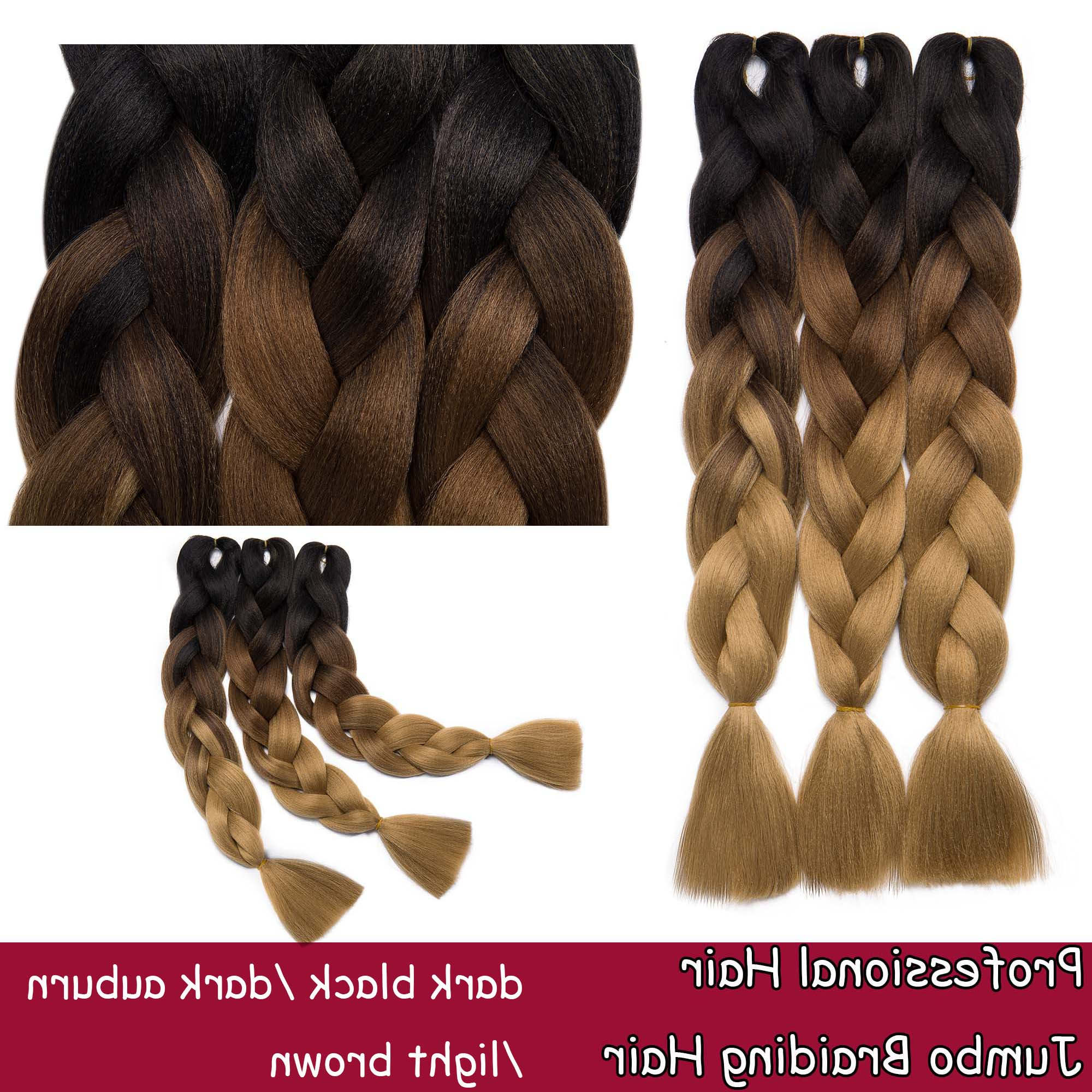 S Noilite 24 Inches 5pcs/lot Ombre Braiding Hair Synthetic Braiding Hair Two Tone Ombre Jumbo Braids Hair Extensions Twist Crochet Hair Dark Pertaining To Most Popular Light Brown Braid Hairstyles (View 10 of 20)