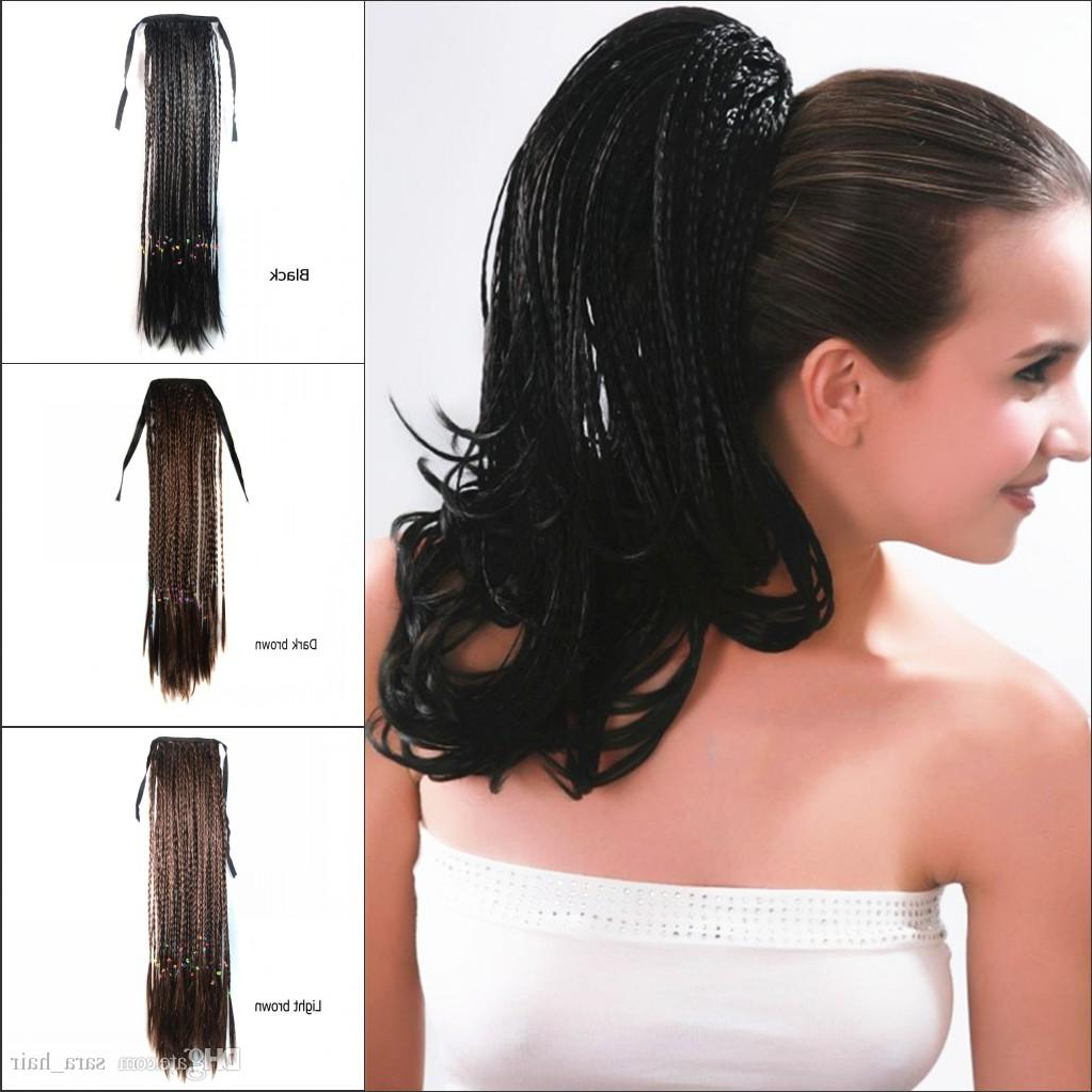 Sara,braiding Hair Drawstring Straight Micro Braids Ponytail Hair Extension 45cm,18 ,clip In On Ponytails Synthetic Hairpiece Horsetail With Regard To Current Light Brown Braid Hairstyles (View 13 of 20)