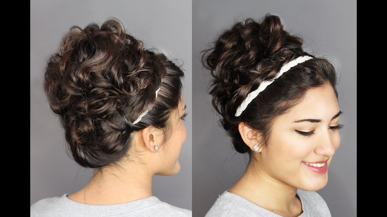 Second Day Hair Holiday Updo: Braided Headband & Messy, Curly Bun!   Madscustomhairdesign With Most Current Braided Headband Hairstyles For Curly Hair (View 16 of 20)