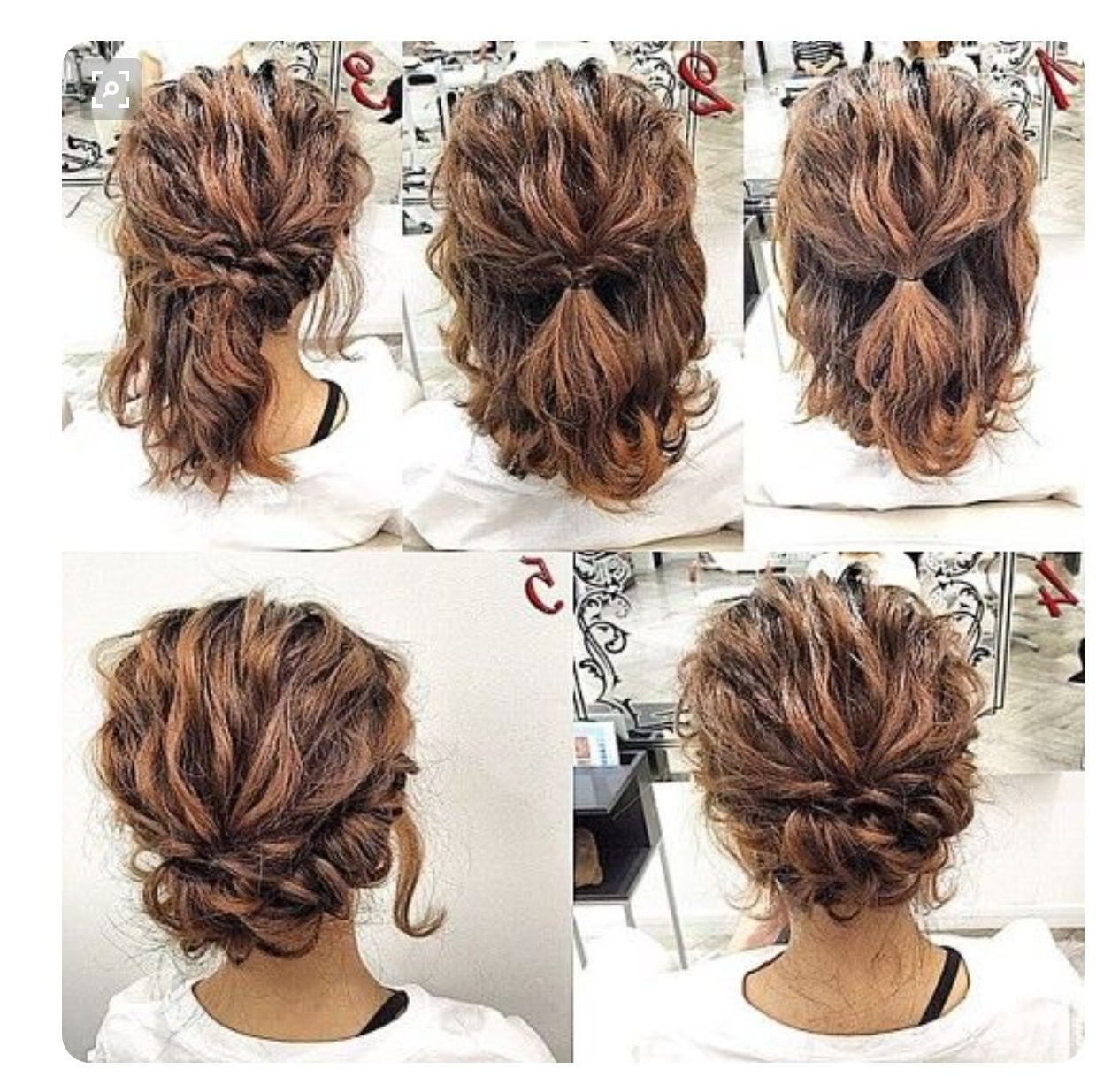 Short Hair Updo With Most Recent Curled Updo Hairstyles (View 10 of 20)