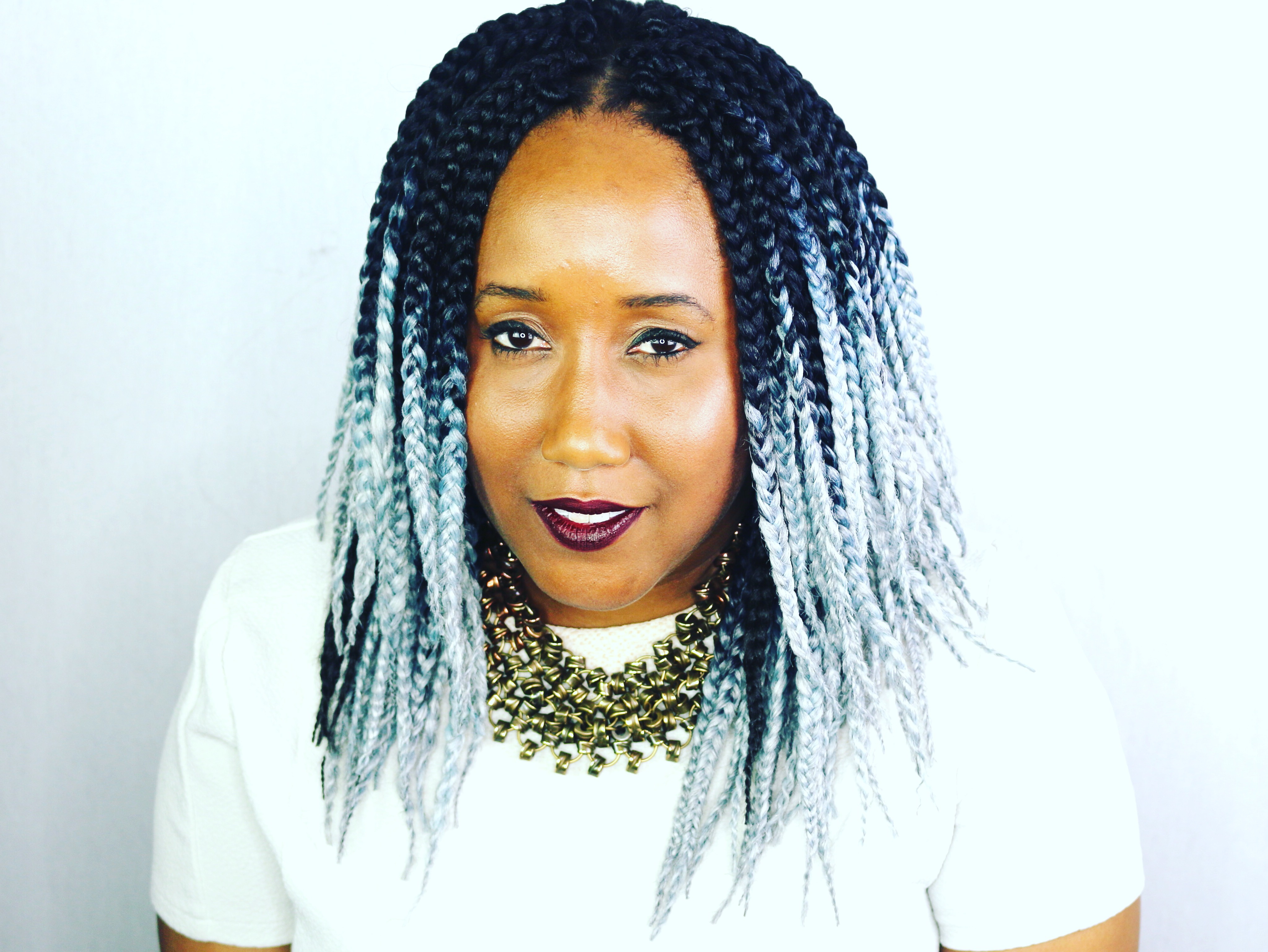 Shoulder Length Grey Ombre Crochet Box Braids 🔥 « Hairbyoj With Regard To Preferred Black Shoulder Length Braids With Accents (View 18 of 20)