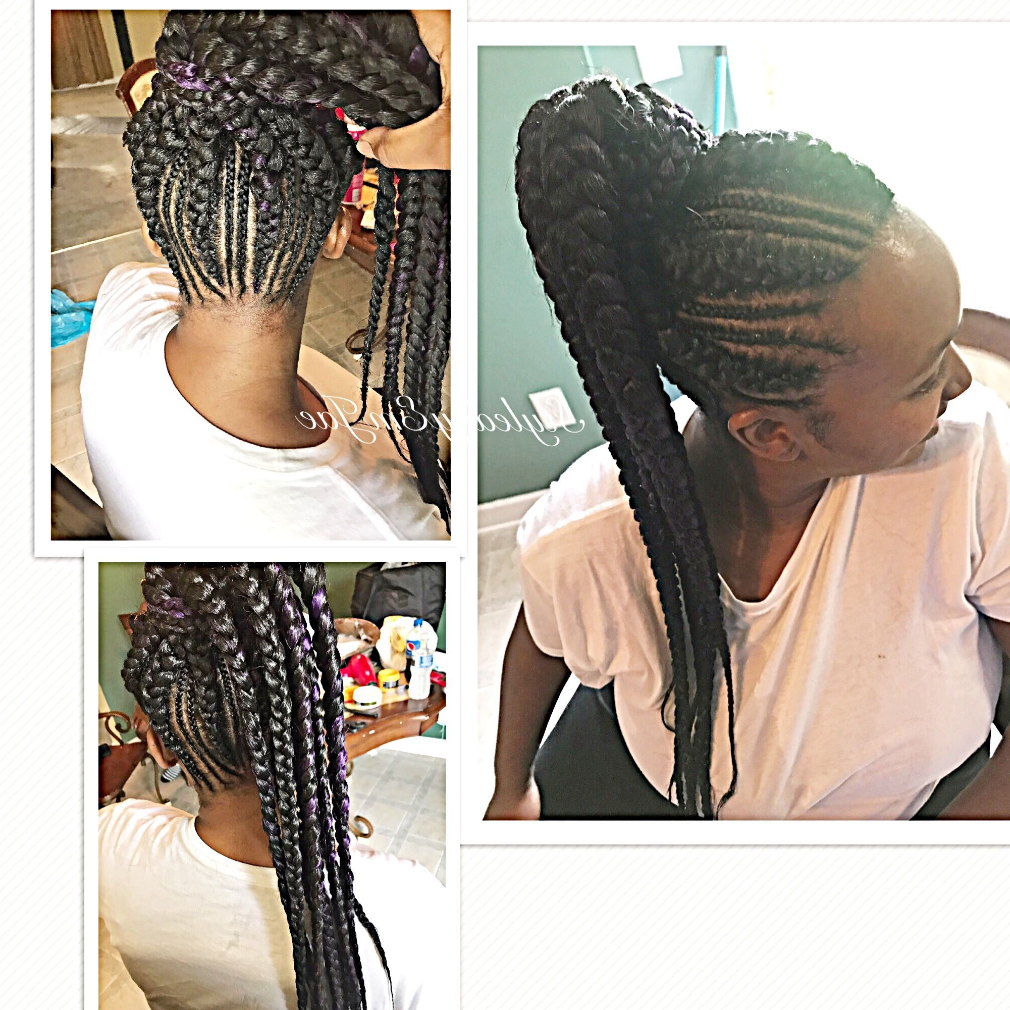 Slim Thick High Ponytail Braids, Feed In Braids, Cornrows With Most Current Thick Cornrows Bun Hairstyles (View 11 of 20)