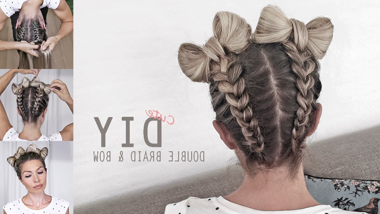 Space Buns – Double Bun – Upside Down Dutch Braid Into Messy Buns – Diy  Tutorial! 2018 For Newest Braided Space Buns Updo Hairstyles (View 15 of 20)