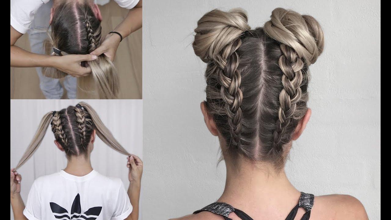 Space Buns – Double Bun – Upside Down Dutch Braid Into Messy Buns – Diy  Tutorial! With Famous Dutch Braid Bun Hairstyles (View 20 of 20)