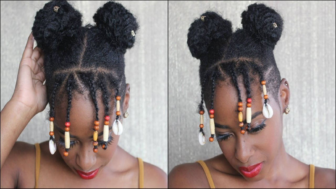 Space Buns On Tapered Afro With Beaded Bangs Within Well Known Beaded Bangs Braided Hairstyles (View 17 of 20)