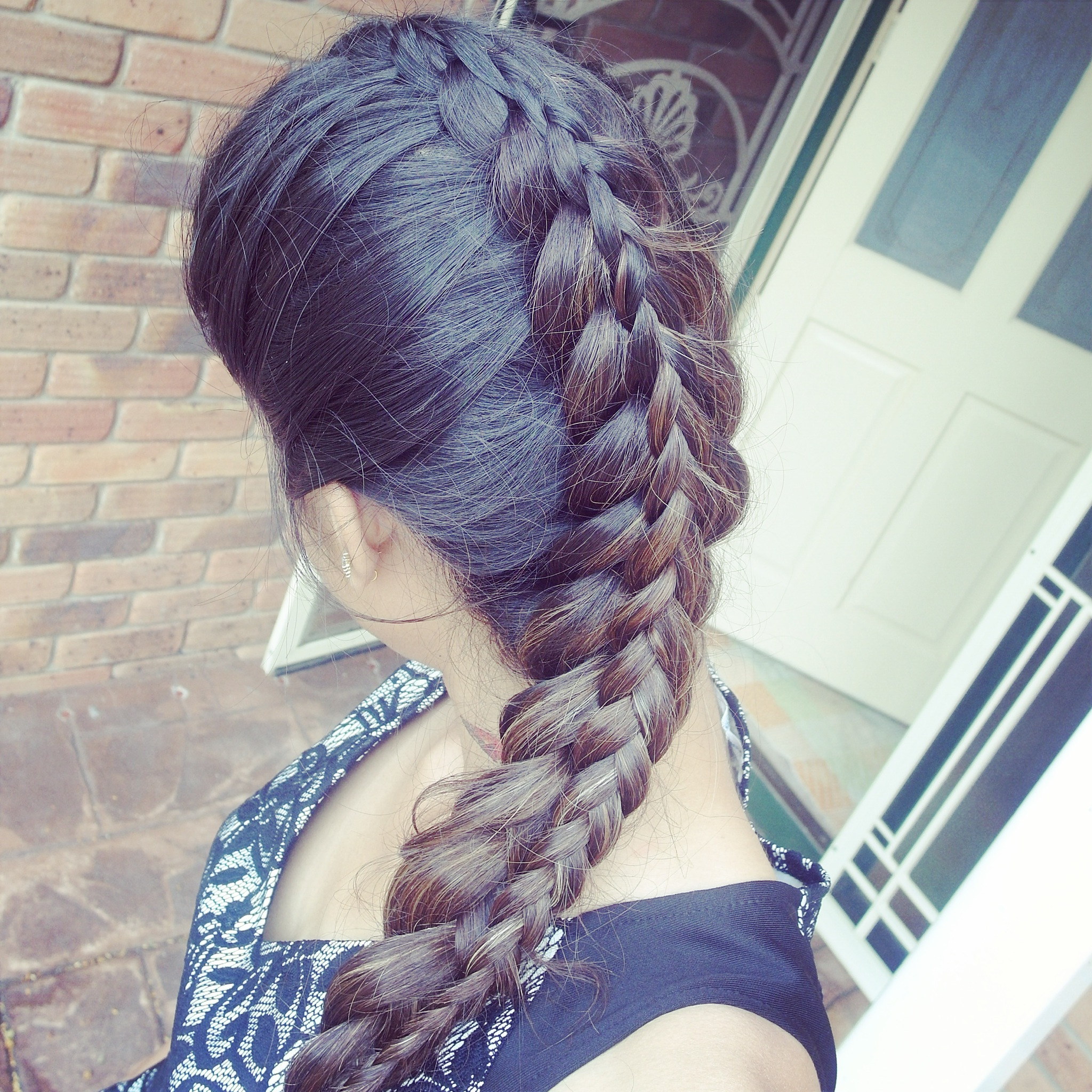 Tanvi Vayla » 3 Strand Dutch Stacked Braid Throughout Popular Three Strand Pigtails Braided Hairstyles (Gallery 19 of 20)