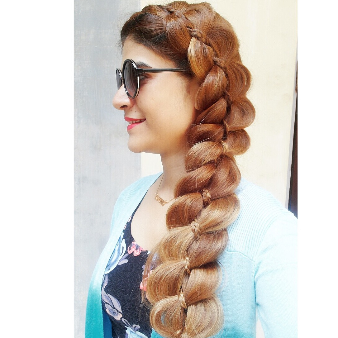 Tanvi Vayla » 4 Strand Braid With Micro Braid With Regard To Fashionable Micro Braids In Side Fishtail Braid (View 19 of 20)