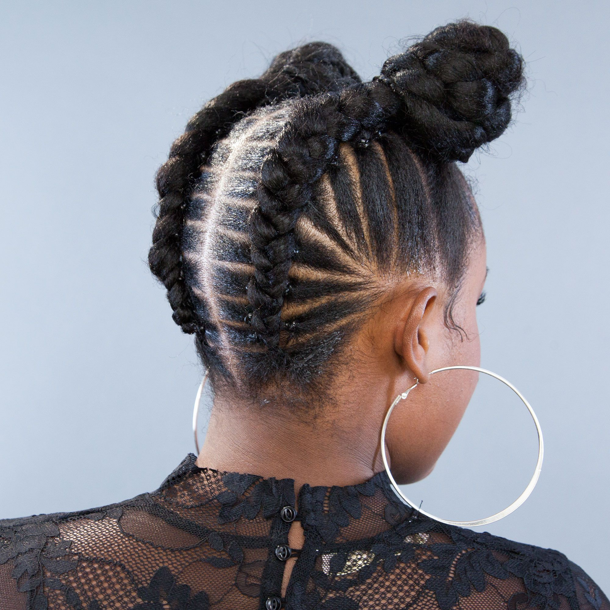 The Best Stitch Braids Protective Styles For Fall Regarding Famous Natural Protective Bun Micro Braid Hairstyles (Gallery 13 of 20)