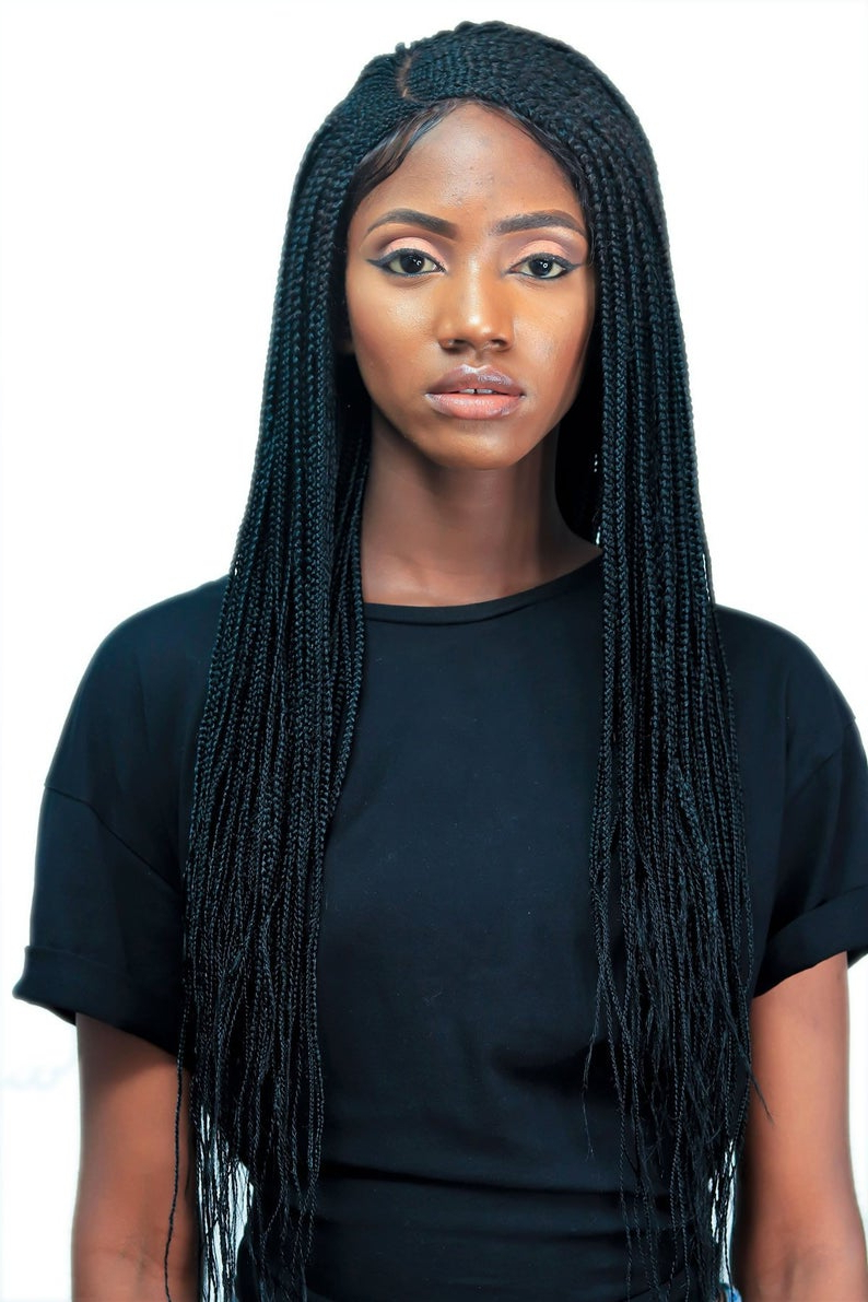 Tiwa Side Part Cornrow Wig – 22 Inches Micro Braids Braided Wig Senegalese Twists Box Braids Faux Locs Wig Ghana Braid Cornrows Braid Wig Regarding Famous Side Parted Micro Twist Hairstyles (View 6 of 20)