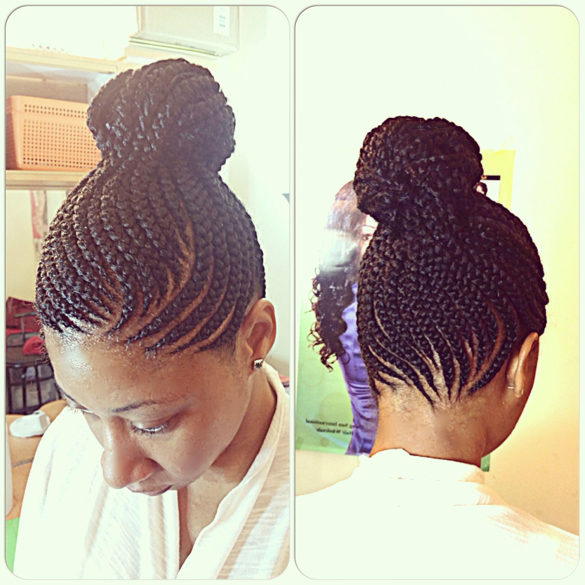Trendy Cornrows Tight Bun Under Braid Hairstyles Regarding Feeding Cornrows, Cornrows , Braids , Braiding, Braids Into (View 19 of 20)