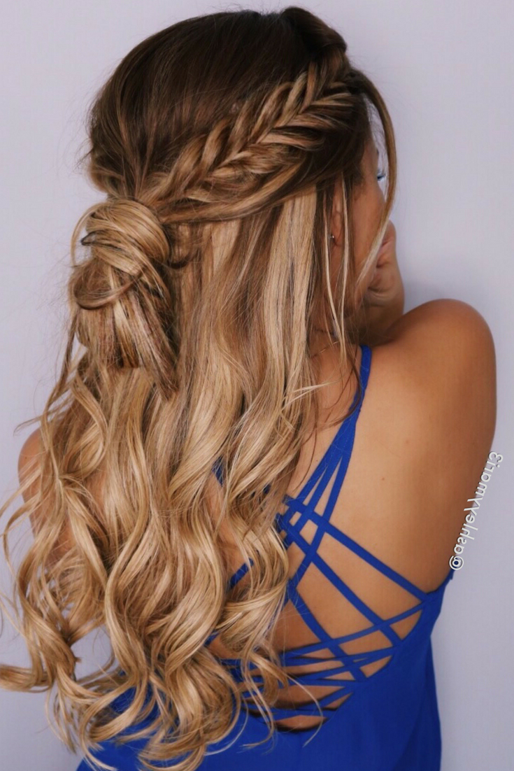 Trendy Curled Half Up Hairstyles Regarding Fishtail Braid, Half Up Hairstyle, Braid, Messy Bun, Hair (View 4 of 20)