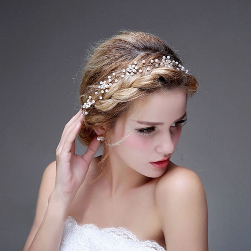 Trendy Ethereal Updo Hairstyles With Headband Pertaining To Hairstyles : Bridalvenus Bride Wedding Headband Bridal Peal (Gallery 20 of 20)