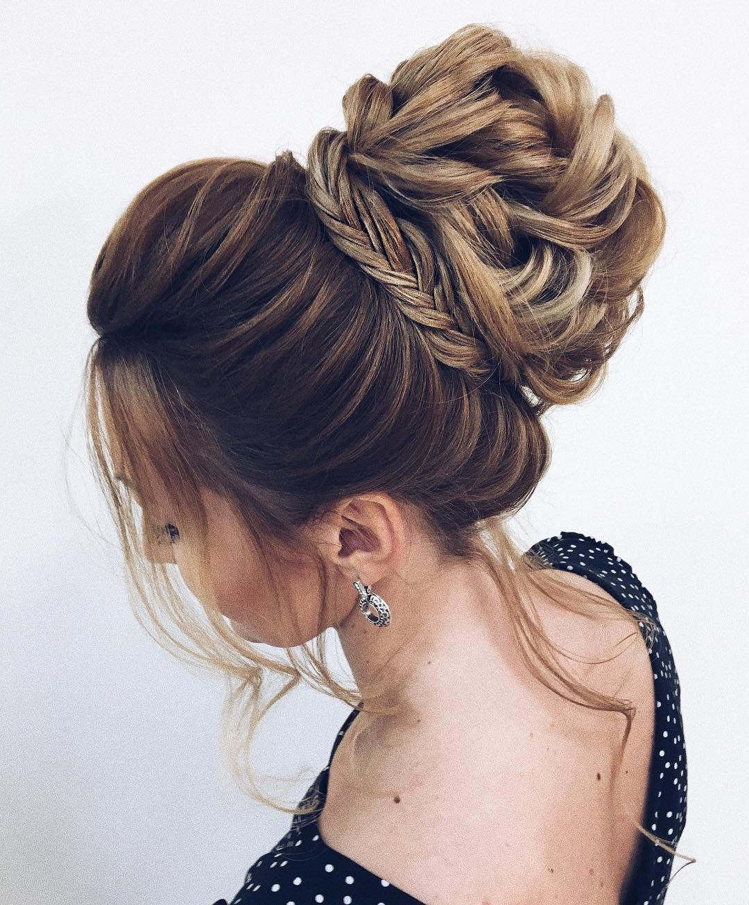 Trendy High Bun Hairstyles With Braid Intended For Unique Updo Hairstyle , High Bun Hairstyle ,prom Hairstyles (View 7 of 20)
