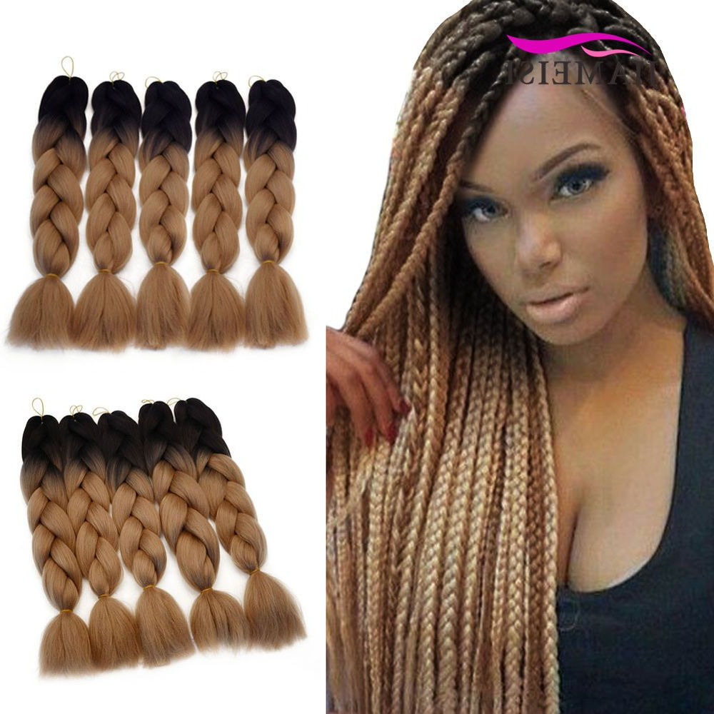 Trendy Light Brown Braid Hairstyles Intended For Details About 5Pcs /pack Ombre Light Brown Synthetic (Gallery 11 of 20)