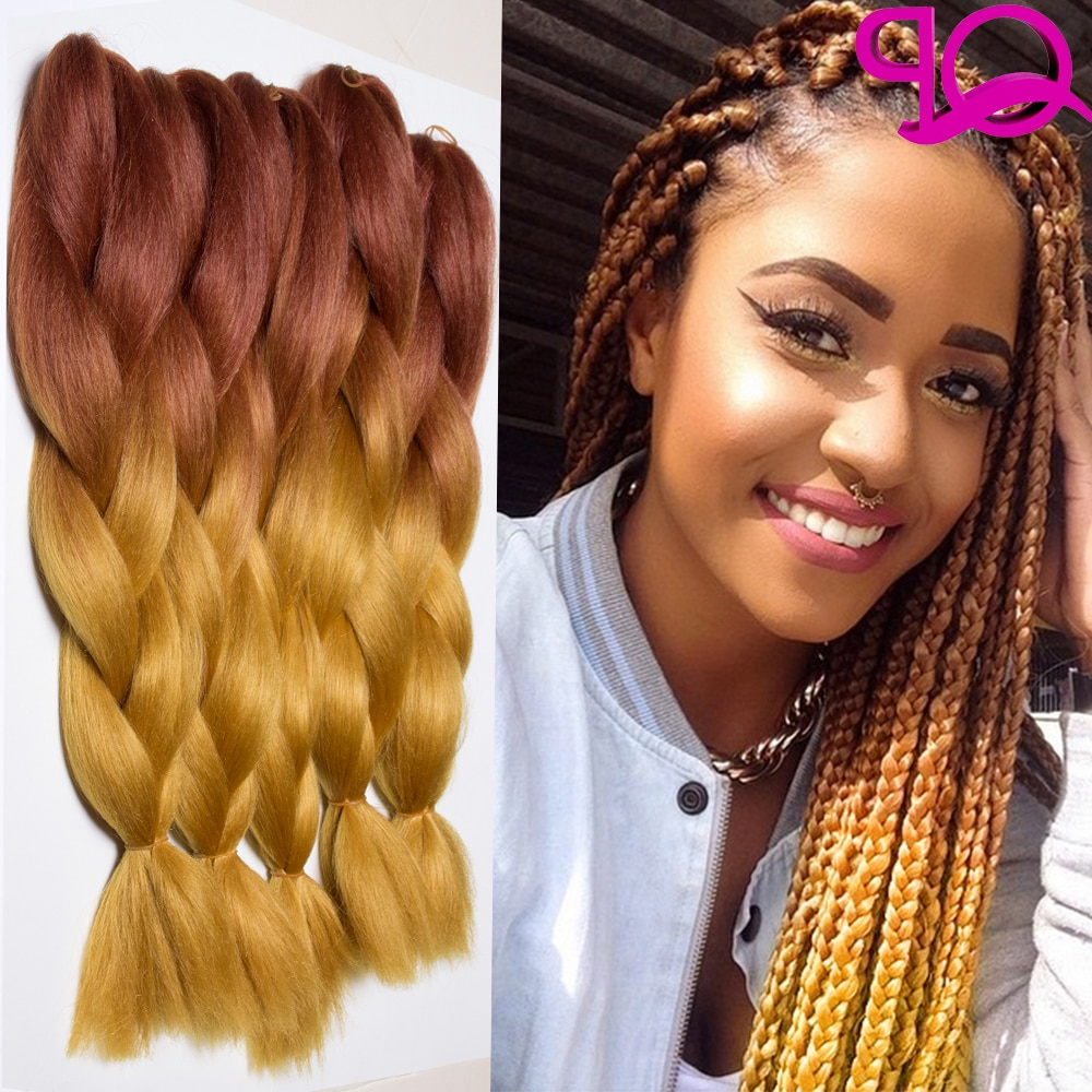 Trendy Two Tone Twists Hairstyles With Beads Intended For 10Pcs Brown/blond Two Tone Kanekalon Jumbo Braid 24 Inch (Gallery 10 of 20)