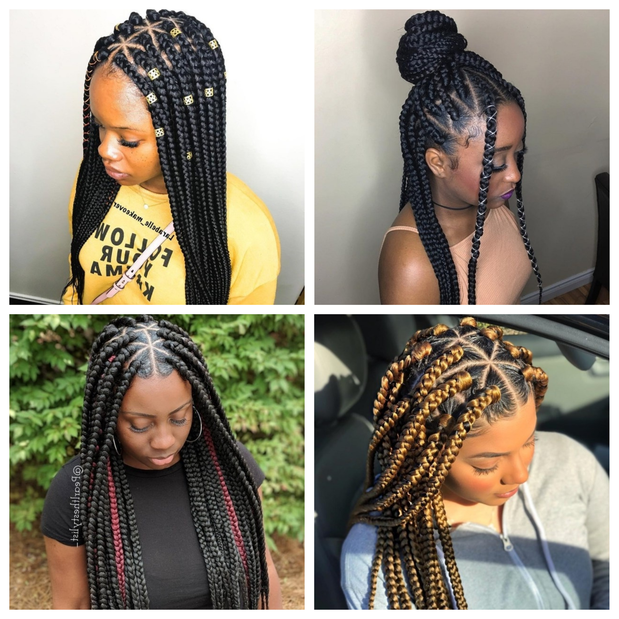 Triangle Braids Hairstyles: New Way Of Rocking Box Braids With Regard To Preferred Centre Parted Long Plaits Braid Hairstyles (View 12 of 20)