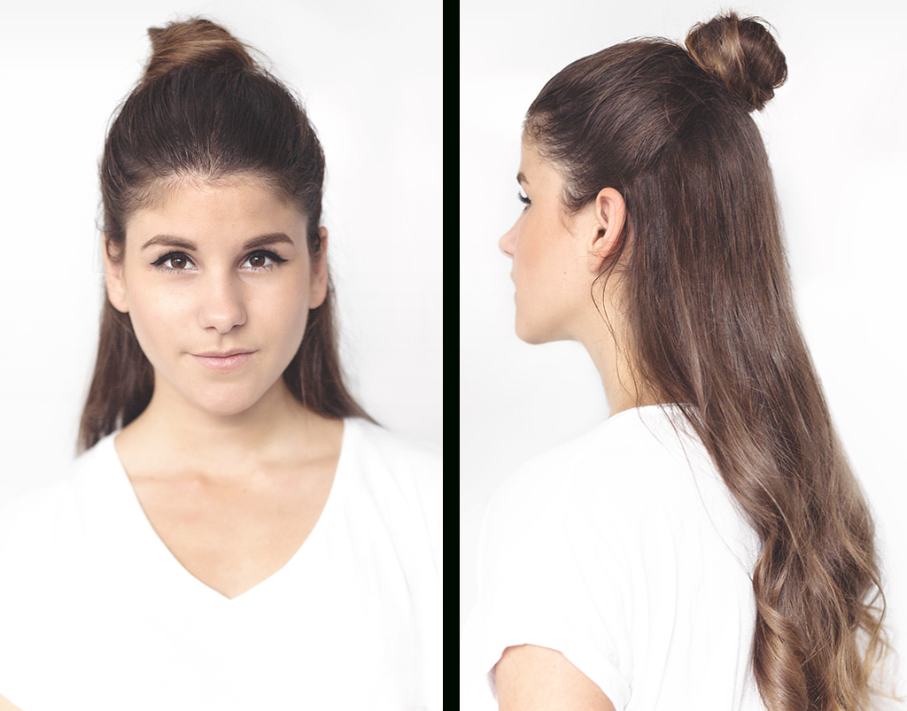 Tutorial: Chic Half Bun › Thefashionfraction In Famous Simple Half Bun Hairstyles (Gallery 20 of 20)